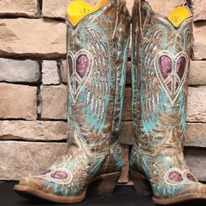 Corral Heart Angel Wing Cowgirl Boots - Snip Toe